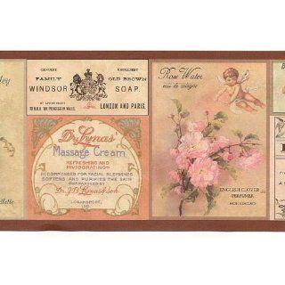 Soap and Flower Labels   Bathroom Wallpaper Border
