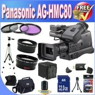 Panasonic AG HMC80 3MOS AVCCAM HD Shoulder Mount Camcorder + Extended Life Battery + 32GB SDHC Class 10 Memory Card + USB Card Reader + Memory Card Wallet + Shock Proof Deluxe Case + 3 Piece Professional 43mm Filter Kit + Professional Full Size Tripod + Su