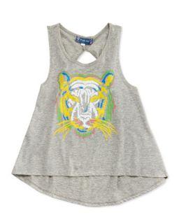 Tiger Print Tank, Gray, 12 14