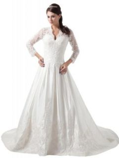 GEORGE BRIDE Women's A Line Long Sleeves Lace over Satin Wedding Dress at  Women�s Clothing store