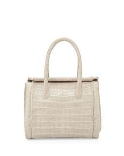 Crocodile Small Satchel Bag, Sand   Nancy Gonzalez
