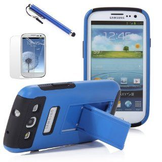 ATC White+Blue Kickstand Hybrid Case Hard Gel Cover w/ Stand for Samsung Galaxy S3 I9300 (Verizon, Sprint, T Mobile, AT&T): Cell Phones & Accessories