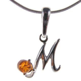 BALTIC AMBER AND STERLING SILVER 925 DESIGNER ALPHABET LETTER M PENDANT JEWELLERY JEWELRY (NO CHAIN)   P223: Jewelry