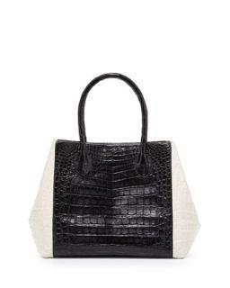 Bicolor Crocodile Trapeze Tote Bag, Black/White   Nancy Gonzalez