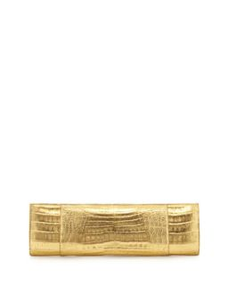 Slicer Slim Metallic Crocodile Clutch Bag, Gold   Nancy Gonzalez