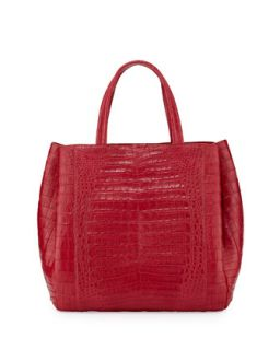 Crocodile Medium Tote Bag, Red   Nancy Gonzalez