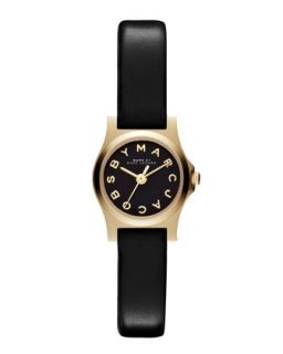Henry Dinky Analog Watch with Leather Strap, Golden/Black   MARC by Marc Jacobs