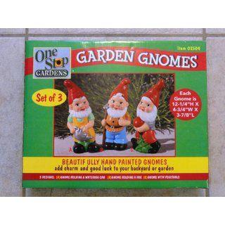 Set of 3 Hand painted Ceramic Garden Gnomes  Patio, Lawn & Garden