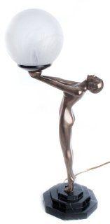 Art Deco Biba Nude Lady Cold Cast Bronze Statue Lamp Light   Table Lamps