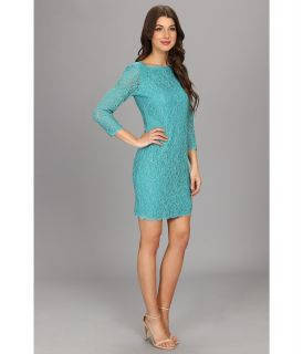 Adrianna Papell L/S Lace Dress Jade