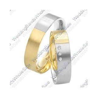950 Platinum and 18k Yellow Gold 6mm 0.075ct His and Hers Wedding Rings Set 239: Wedding Bands Wholesale: Jewelry