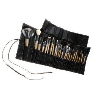 Big Discount 24pcs Professional Cosmetic Make up Makeup Brush Blush Eyeshadow Set Kit with Black Leather Case  Beauty