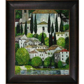 Art KL2193 FR 939320X24 Klimt Church in Cassone Oil Painting with Veine D' Or Bronze Scoop, Bronze and Rich Brown Finish