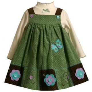 Bonnie Jean Baby/Infant Girls 12M 24M 2 Piece SAGE GREEN BROWN IVORY PIN DOT BUTTERFLY FLOWER PATCHWORK Party Jumper Dress Set 24M BNJ 0818B B10818: Clothing
