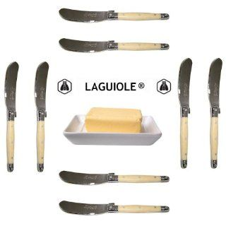 "Authentic French Laguiole�   8 Butter Knives/Spreaders   HORN (Original Genuine French Laguiole Jean Dubost   6""   Quality Family Dinner White Color Table Flatware/Cutlery Setting   Manufactured in France   Stainless Steel Lemmet   With Certificate of"