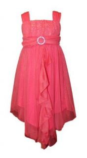 Bonnie Jean Girls Coral Glitter Mesh Party Flower Girl Dress Clothing
