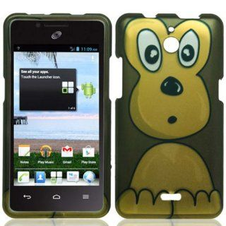 Huawei Ascend Plus H881c (StraightTalk) 2 Piece Snap On Glossy Hard Plastic image Case Cover, Brown/Tan Cute Cartoon Monkey Cover + LCD Clear Screen Saver Protector: Cell Phones & Accessories