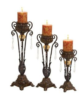 Set of Three Beautiful Polystone Metal Decorative Candle Holders   Pillar Holders