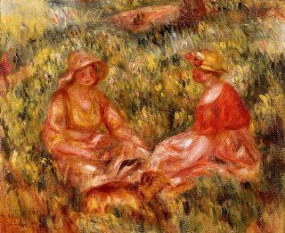 Artisoo Two Women in the Grass   Size 30 x 24 inches   Impressionism Oil painting reproduction   Pierre Auguste Renoir