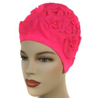 Hot Pink Floral Vintage Style Latex Swim Bathing Cap : Swim Caps That Keep Hair Dry : Sports & Outdoors