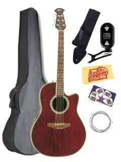 Ovation Applause AE128 RR Super Shallow Cutaway Acoustic Electric Guitar Bundle with Gig Bag, Tuner, Strap, Strings, Picks, and Polishing Cloth   Ruby Red Musical Instruments