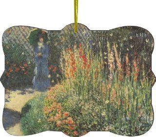 Rikki KnightTM Claude Monet Art Gladiolas Design Tree Ornament / Car Rear View Mirror Hanger   Decorative Hanging Ornaments