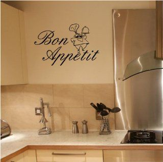 New Bon Appetit With Chef wall saying vinyl lettering art decal quote sticker home decal   Wall Decor Stickers