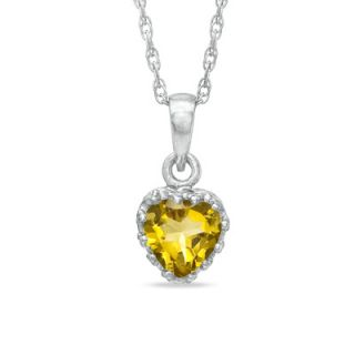0mm Heart Shaped Citrine Crown Pendant in Sterling Silver   Zales