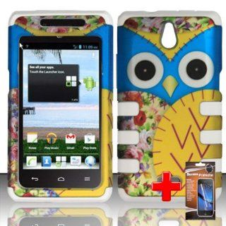 Huawei Ascend Plus H881c (StraightTalk) 2 Piece Silicon Soft Skin Hard Plastic Shell Image Case Cover, Blue/Yellow Cute Cartoon Owl Cover+ LCD Clear Screen Saver Protector: Cell Phones & Accessories