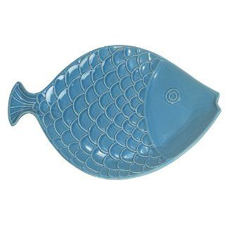 """Fish Platter   Dark Aqua   15""""   Microwave and Dishwasher Safe Ceramic   Can Also Be Hung for Tropical Nautical Decor   New Kitchen & Dining"""