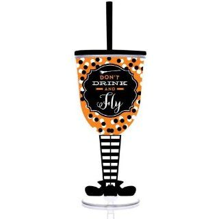 Don't Drink & Fly Halloween Witch 13oz Insulated Wine Glass Slant Lid Straw Kitchen & Dining
