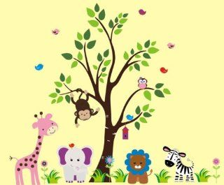 "Baby Nursery Wall Decals Safari Jungle Childrens Themed 83"" X 125"" (Inches) Animals Trees Monkey Zebra Lion Giraffe Elephant Owls Wildlife Made of Seramark Material Repositional Removable Reusable : Nursery Wall Decor : Baby"