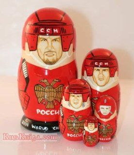 """Nesting 6"""" Doll 5 Matryoshka OVECHKIN Russia Hockey [Made in Russia. 5 pieces Height 6 inches (15 cm); Materials linden wood, hand painted, lacquer] [Matryoshkas, at the moment of invention, instantly became an incredibly popular toy amongst childre"""