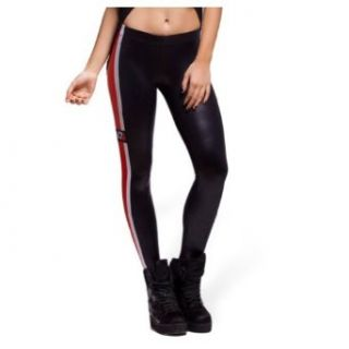 Women Mass Effect N7 WET Look Leggings Black Leather Pants Clothing