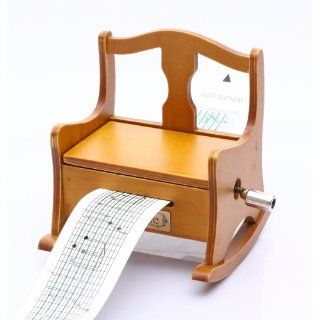 Antique Vintage Wooden Music Box Musical Rocking Chair, DIY Make Yr Own Song Include a Punch and 3 Music Papers, 1 Has Musical Note and 2 Are Blank and You Can Create Your Own Song! And You Can Also Use a Thickness Paper to Create Music Paper!   Jewelry Mu