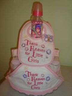 Thank Heaven for Little Girls Flowers and Butterflies 3 Layer Diaper Cake (Decorated All Around)   Comes Decoratively Wrapped Making it a Great Gift or Shower Centerpiece   Other Gift Options Also Available: Health & Personal Care