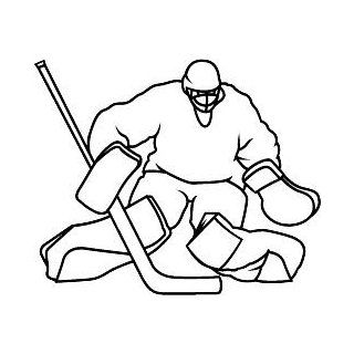 "6"" Printed color goalie crouching outline Hockey Skate Ski Winter Snow Snowboard sticker decal for any smooth surface such as windows bumpers laptops or any smooth surface."