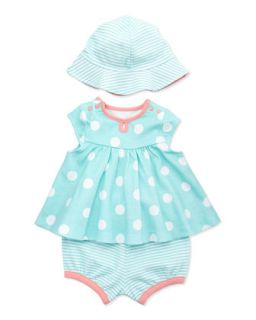 3 Piece Dot Dress, Diaper Cover & Hat Set, Aqua   Offspring