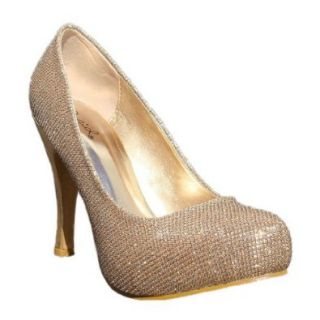 Women's Qupid Champagne Gold Glitter Almond Toe High Heels Pump Size 6.5 (Trench29): Shoes