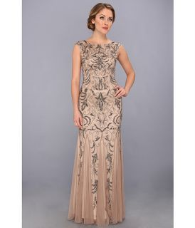 Adrianna Papell Cap Sleeve Beaded Gown Buff