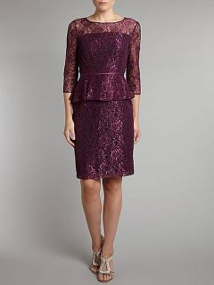 Adrianna Papell Front Lace Panel Peplum Dress Plum