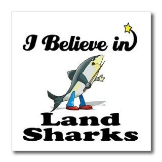 3dRose ht_105242_1 I Believe in Land Sharks Iron on Heat Transfer for White Material, 8 by 8 Inch