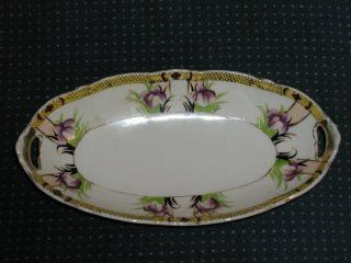 """1914 1940 NORITAKE BUTTER/RELISH TRAY DISH N3442 PURPLE FLOWERS GOLD TRIM THE BACK STAMP IS THE LETTER """"M"""" IN THE MIDDLE SURROUNDED BY WREATH CROWNED NORITAKE BELOW THIS HAND PAINTED MADE IN JAPAN"""