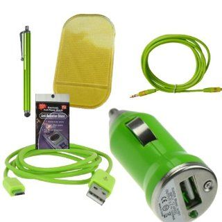 Green USB Car & Truck Charging Kit for Tracfone LG221c, 840g, 430g, 235c, Samsung S425g, t330g, t245g. Comes with 3ft Short Cable, USB Car Charger, Sticky Dash Pad, 3.5mm AUX Cord, Stylus Pen and Radiation Shield.: Cell Phones & Accessories