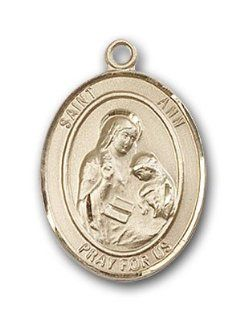 14kt Solid Gold Pendant Saint St. Ann Medal 3/4 x 1/2 Inches Housekeepers/Mothers 8002  Comes with a Black velvet Box Jewelry