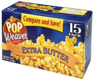 Pop Weaver Extra Butter Flavored Popcorn, 15 Count Boxes (Pack of 2) : Microwave Popcorn : Grocery & Gourmet Food