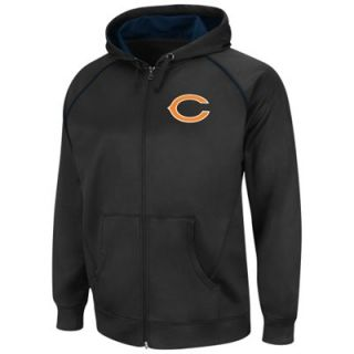 Chicago Bears Coverage Sack III Synthetic Fleece Full Zip Hoodie Sweatshirt   Black