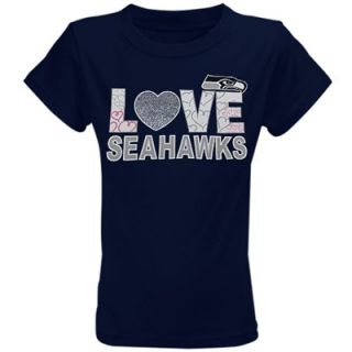 Seattle Seahawks Youth Girls Feel the Love T Shirt   College Navy