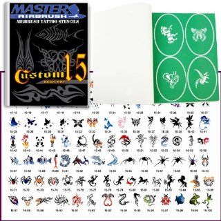 Master Airbrush� Brand Airbrush Tattoo Stencils Set Book #15 Reuseable Tattoo Template Set, Book Contains 102 Unique Stencil Designs, All Patterns Come on High Quality Vinyl Sheets with a Self Adhesive Backing.: Beauty