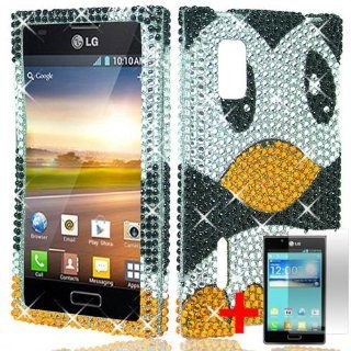 LG OPTIMUS EXTREME L40G CUTE CARTOON PENGUIN DIAMOND BLING COVER HARD CASE + SCREEN PROTECTOR by [ACCESSORY ARENA]: Cell Phones & Accessories